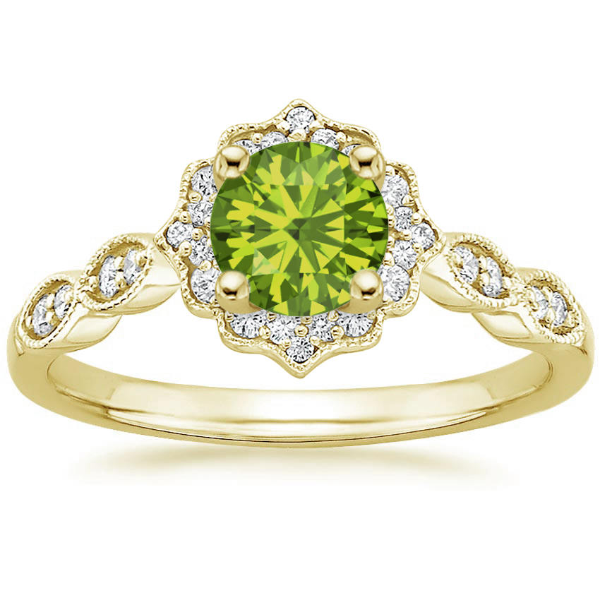 Round Cut Peridot Swing Halo Diamond Engagement Ring in Yellow Gold