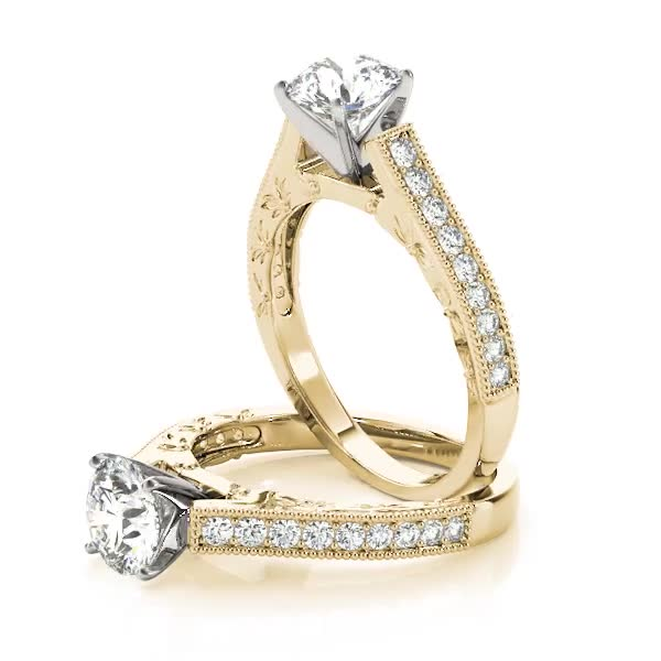 Cathedral Pave Diamond Engagement Ring Yellow Gold
