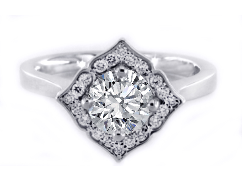 Cornus (Bunchberry) Floral Halo Petite Diamond Engagement Ring