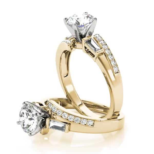 Swirl Diamond Engagement Ring with Baguette Accents Yellow Gold
