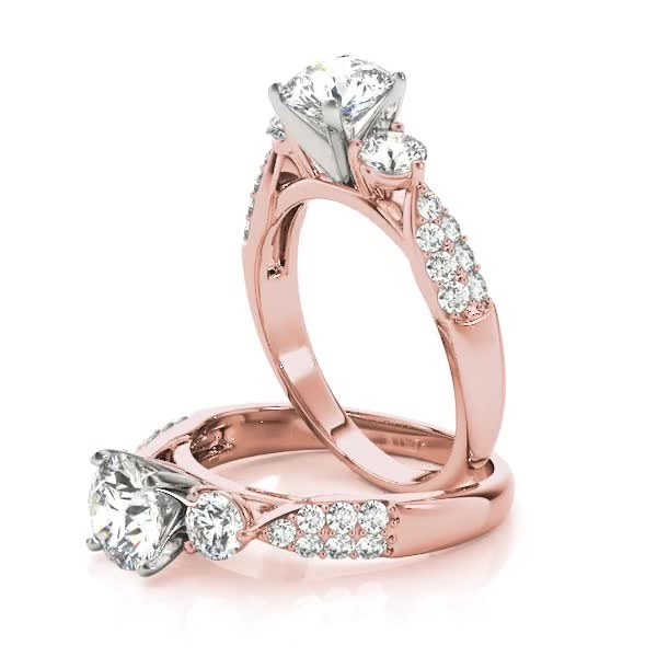 Three Stone Etoil Diamond Engagement Ring in Rose Gold