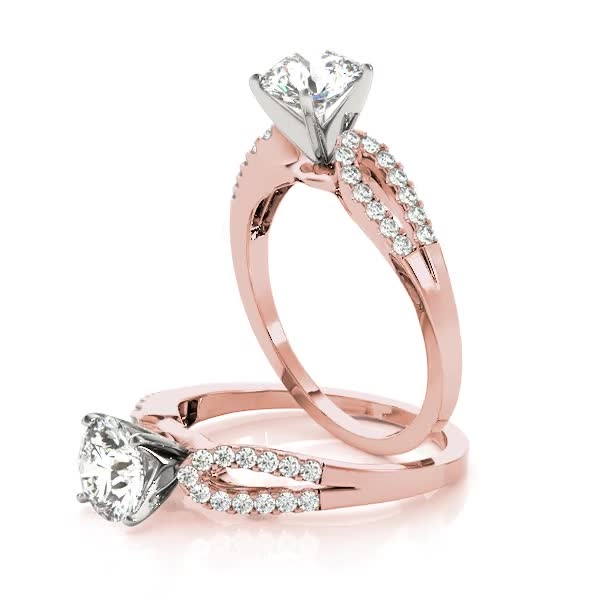 Pee Split Horseshoe Diamond Engagement Ring In Rose Gold