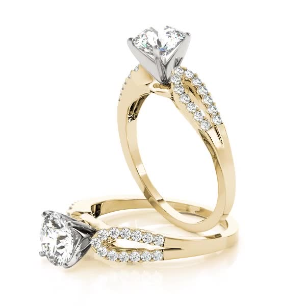 Petite Horseshoe Diamond Engagement Ring Yellow Gold