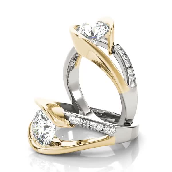 Swirl Bridge Diamond Engagement Ring in Two Tone