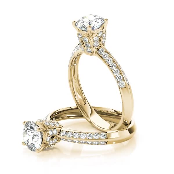 Crown Knife Edge Diamond Engagement Ring in Yellow Gold
