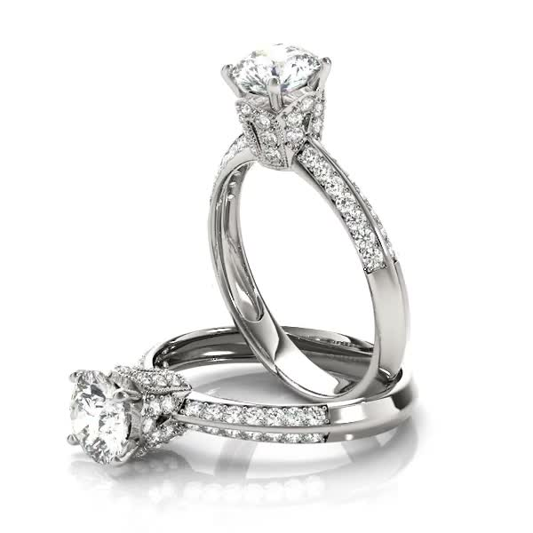 Crown Knife Edge Diamond Engagement Ring