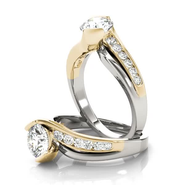 Swirl Semi Bezel Diamond Engagement Ring in Two-Tone