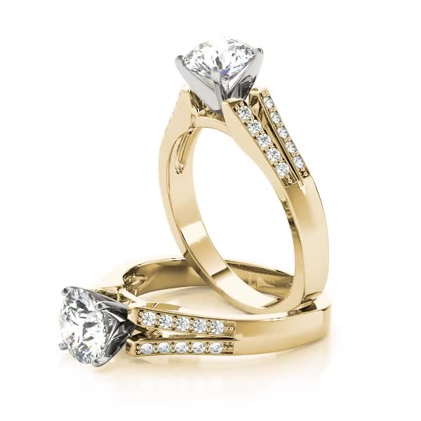 Split Band Diamond Engagement Ring Yellow Gold