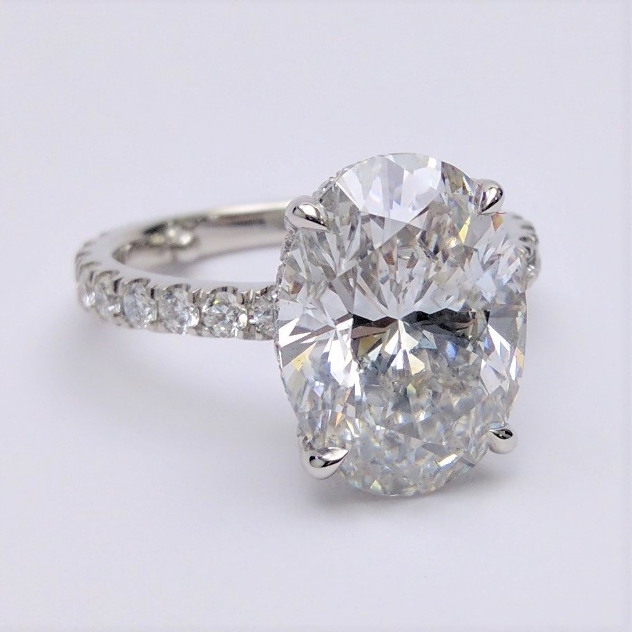 Large Oval Diamond Crown Engagement Ring