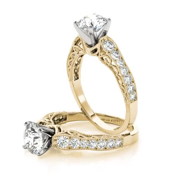 Wave Diamond Vintage Engagement Ring in Yellow Gold
