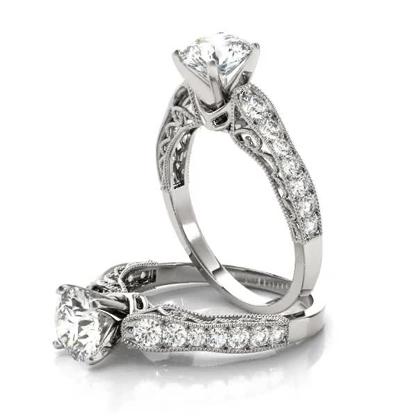 Wave Diamond Vintage Engagement Ring
