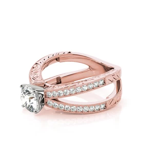 Split Pave Band Butterfly Diamond Bridal Set, Engraved Band