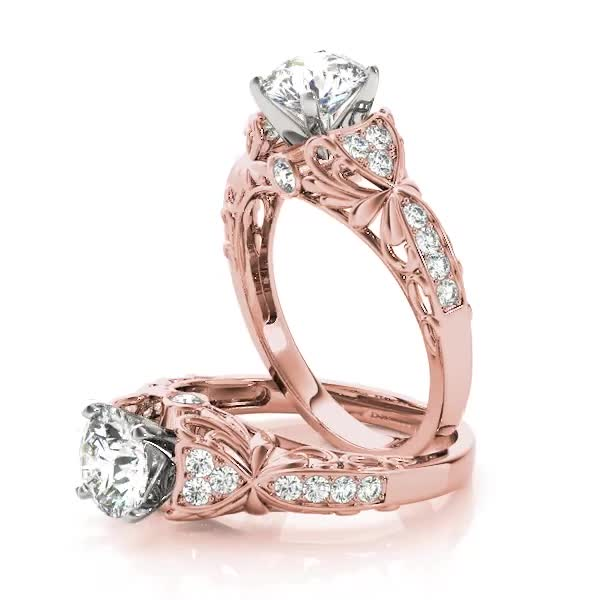 Floral Cathedral Diamond Bridal Set Rose Gold