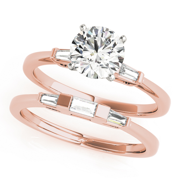 Classic Tapered Baguette Diamond Bridal Set in Rose Gold