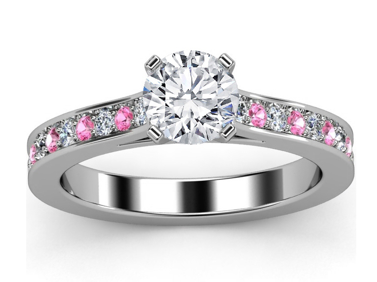 Diamond Engagement Ring Pink Sapphires & Diamonds band in White Gold
