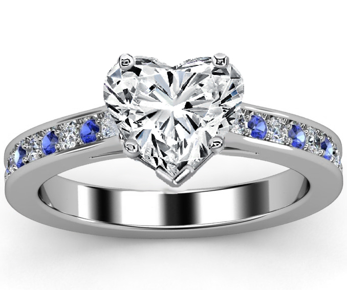 Heart Diamond Engagement Ring Blue Sapphires & Diamonds Band in White Gold