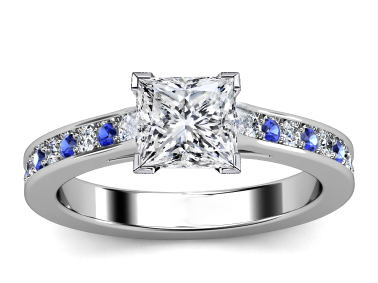 Princess Diamond Engagement Ring Blue Sapphires & Diamonds Band in White Gold