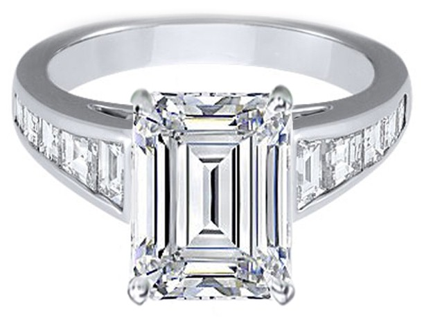 engagement ring large emerald cut engagement ring