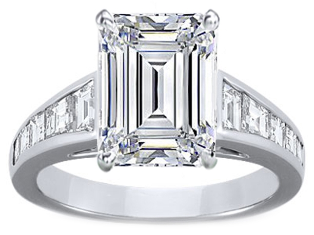 Large Emerald Cut Diamond Engagement Ring with Trapezoid Cut Diamonds in 14K White Gold