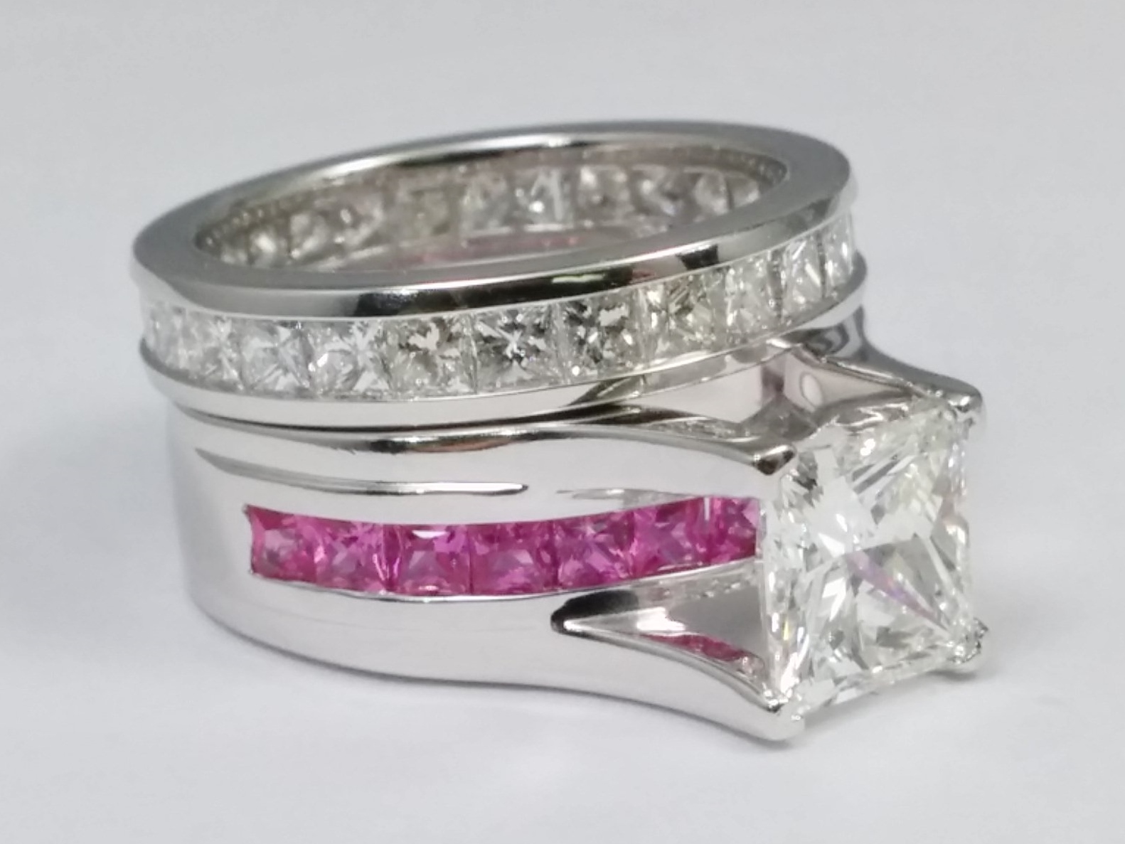 Princess Cut Diamond Bridge Engagement Ring Setting With Pink Shire And Eternity Band In 14k
