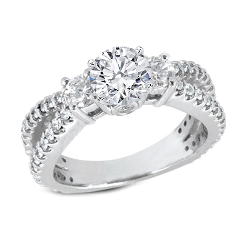 Split Band Pave Diamond Engagement Ring Setting in 14K White Gold 0.72 tcw.