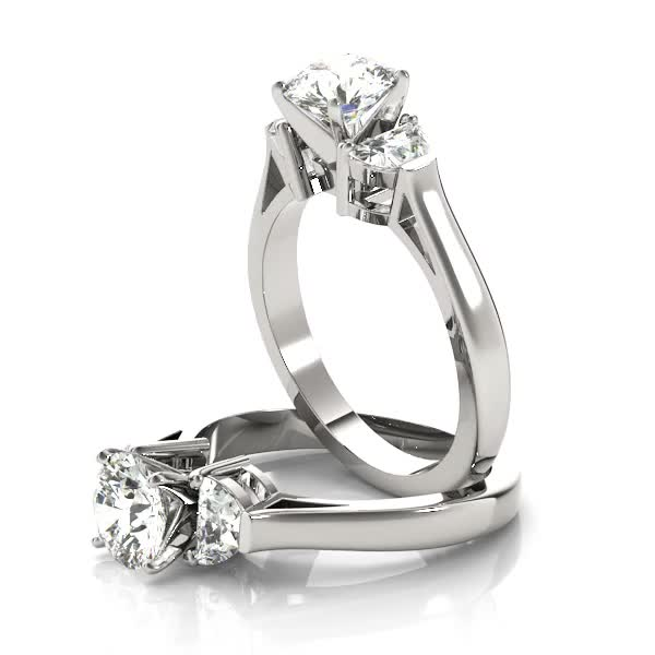 Half Moon Diamond Engagement Ring