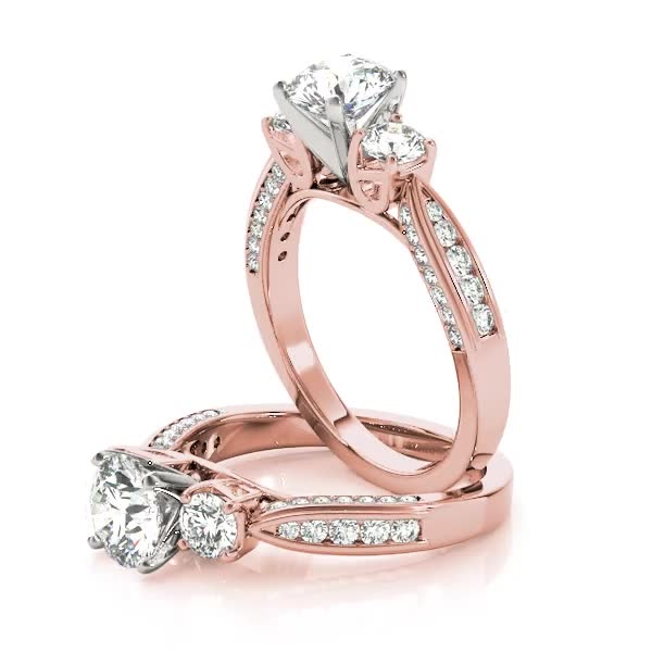 Three Stone Diamond Tapered Band Engagement Ring in Rose Gold