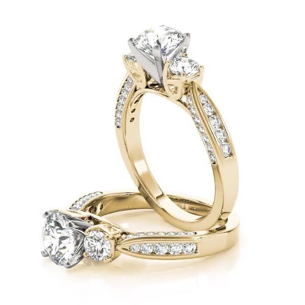 Three Stone Diamond Tapered Band Engagement Ring Yellow Gold