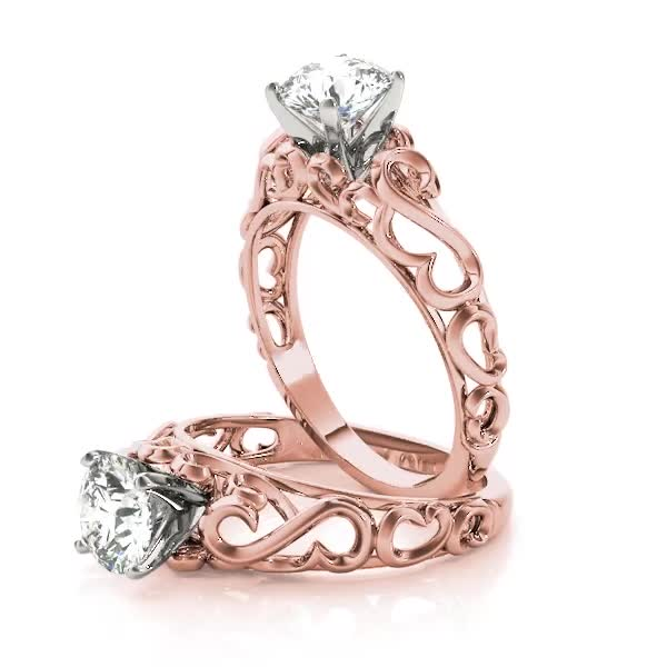 Filigree Solitaire Engagement Ring in Rose Gold