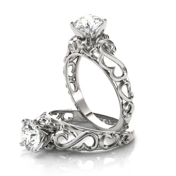Filigree Solitaire Engagement Ring