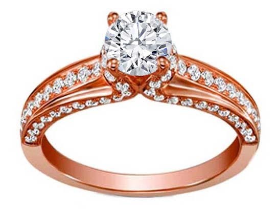 Pink Gold Diamond Engagement Ring Setting 0.63 tcw.