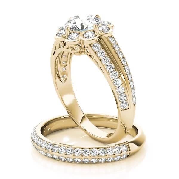Floral Filigree Diamond Bridal Set Yellow Gold