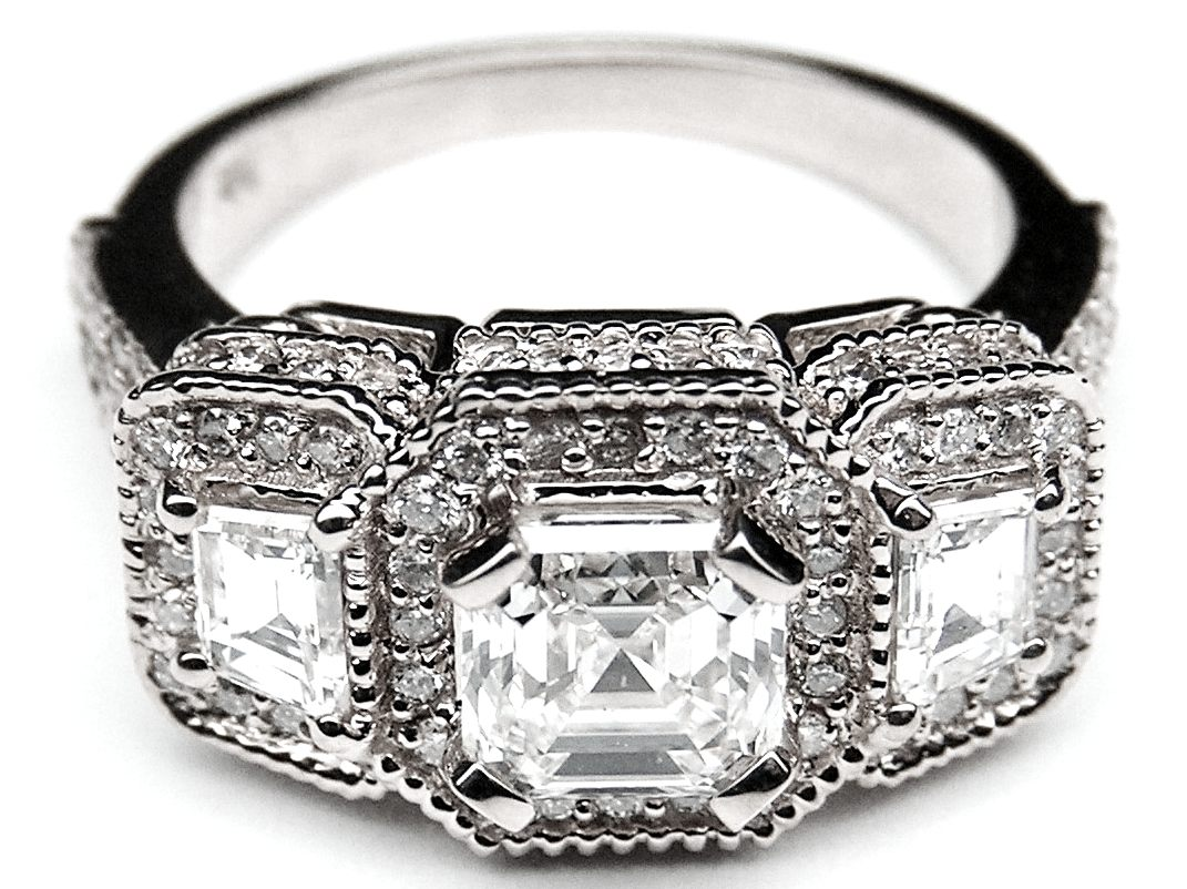 Engagement Ring Asscher Cut Diamond Vintage Style Engagement Ring Trapezoids