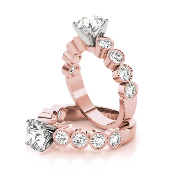 Bezel Diamond Bridal Set Rose Gold