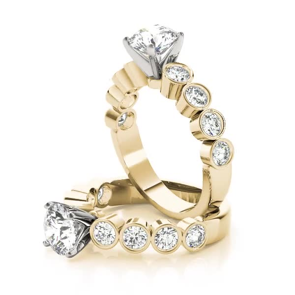 Bezel Diamond Engagement Ring Yellow Gold
