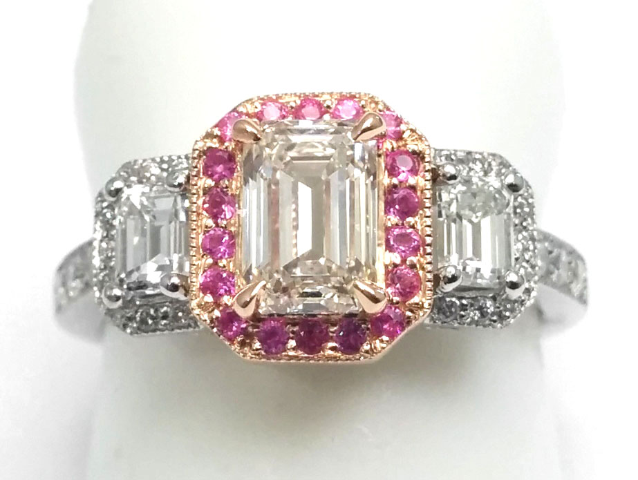 Three Stone Emerald Cut Diamond Engagement Ring Halo Vintage Design Pink & White Gold
