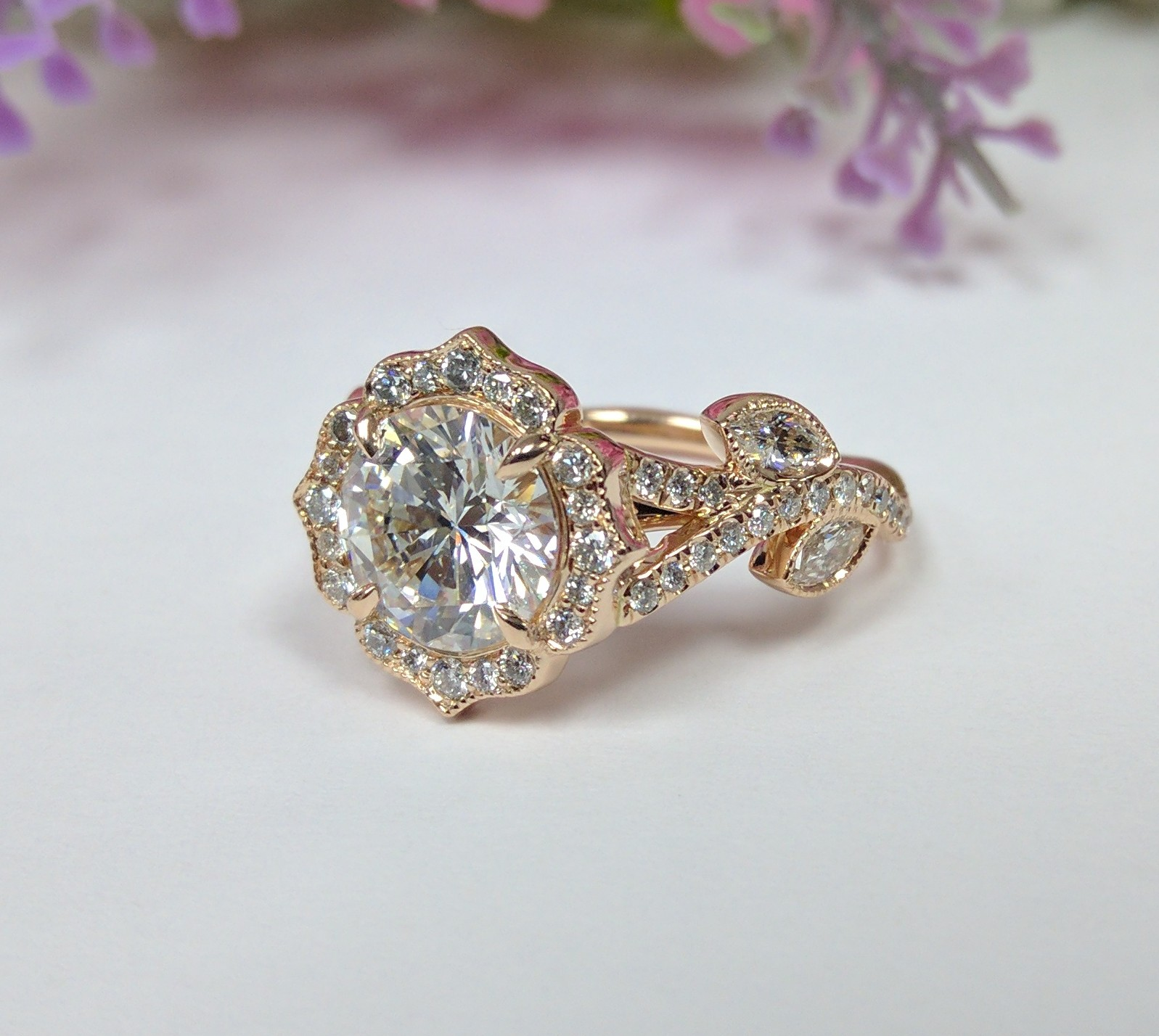 Swing Halo Adonis Band Diamond Engagement Ring in Rose Gold