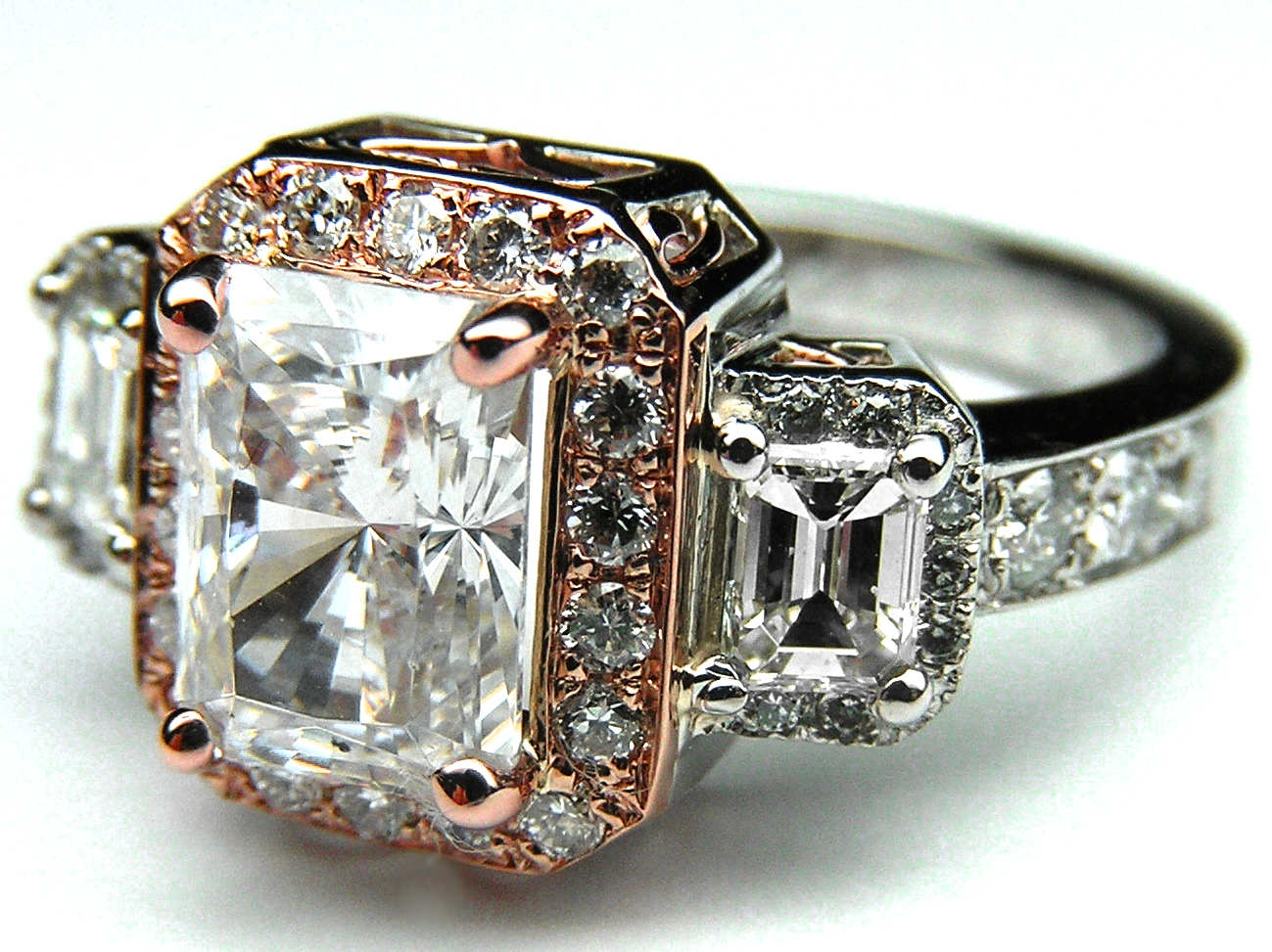 Three Stone Radiant Cut Diamond Vintage Style Two-tone Platinum and Pink Gold Engagement Ring
