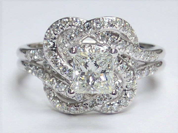 Knot Halo Princess Diamond Engagement Ring