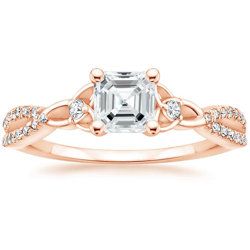 Celtic Love Knot Asscher Diamond Ring Rose Gold