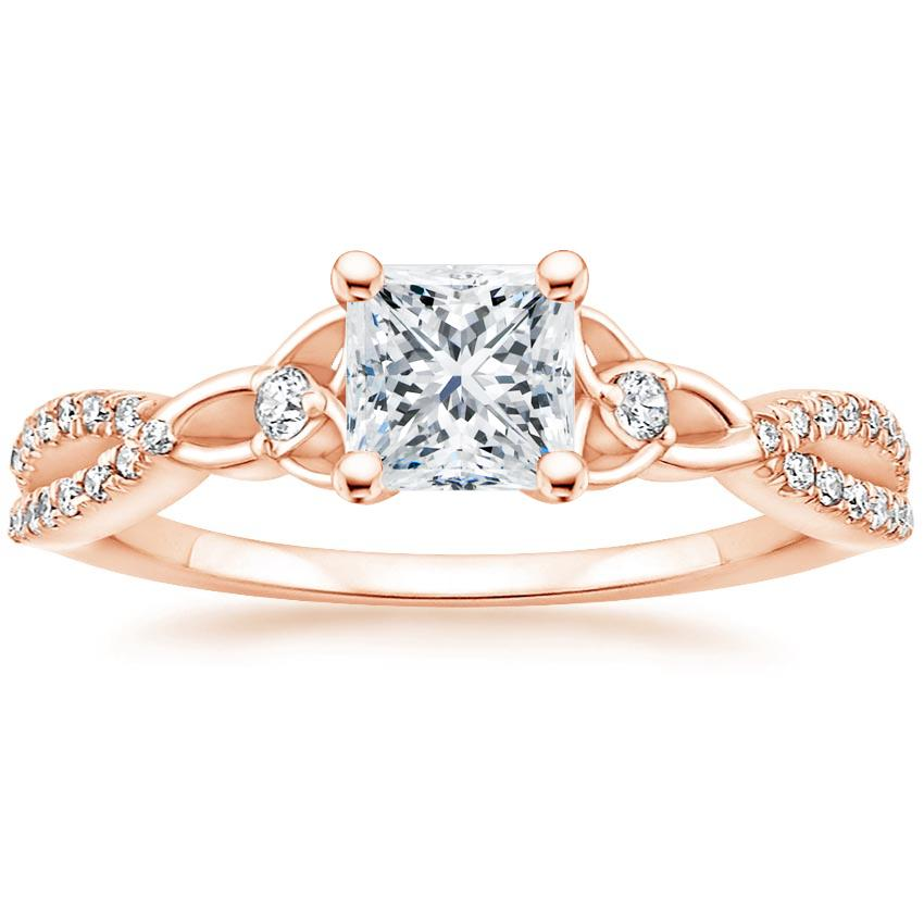 Celtic Love Knot Princess Diamond Ring Rose Gold