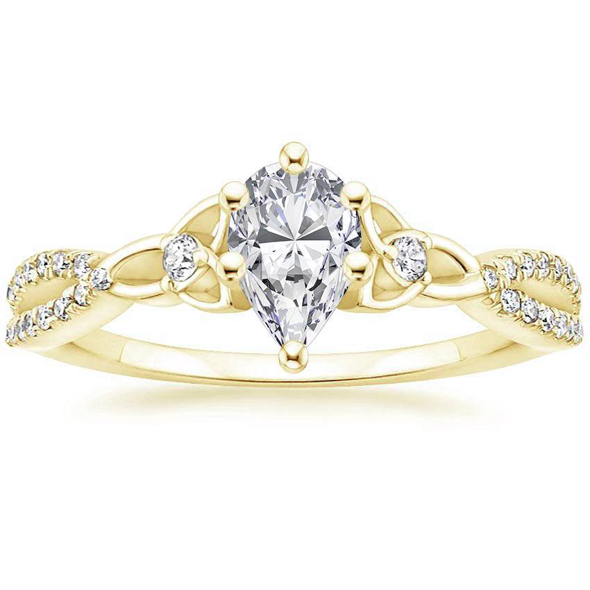 Celtic Love Knot Pear Diamond Ring Yellow Gold