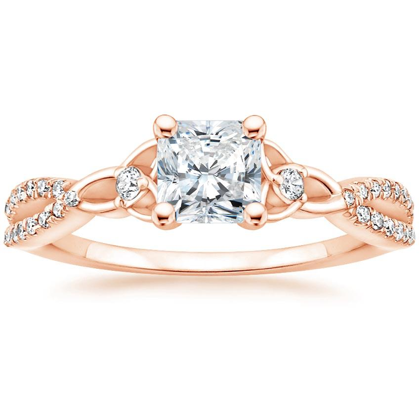 Celtic Love Knot Radiant Diamond Ring Rose Gold