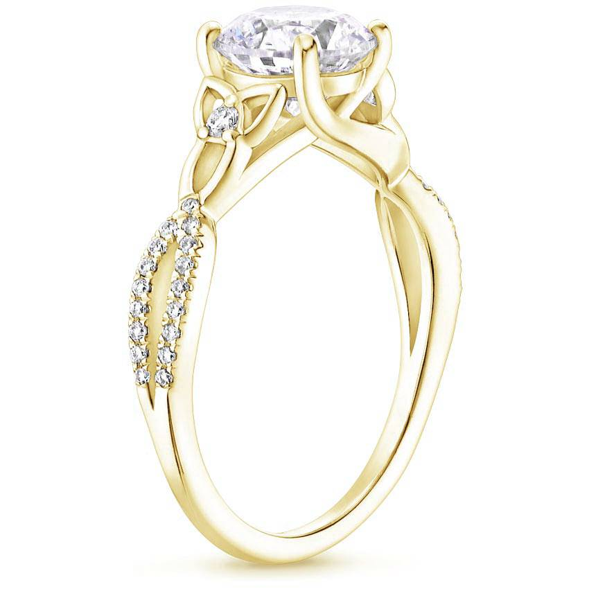 Celtic Love Knot Cushion Diamond Ring Yellow Gold