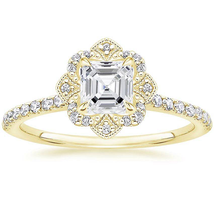 Royal Crown Halo Asscher Diamond Ring Yellow Gold