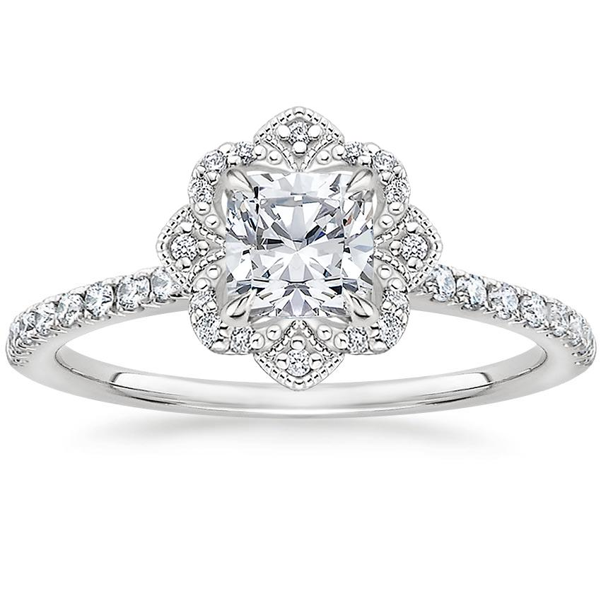 Cushion Royal Crown Halo Engagement Ring