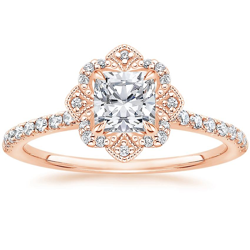 Royal Crown Halo Cushion Diamond Ring Rose Gold