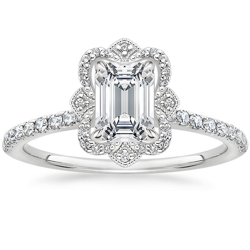 Emerald Royal Crown Halo Engagement Ring