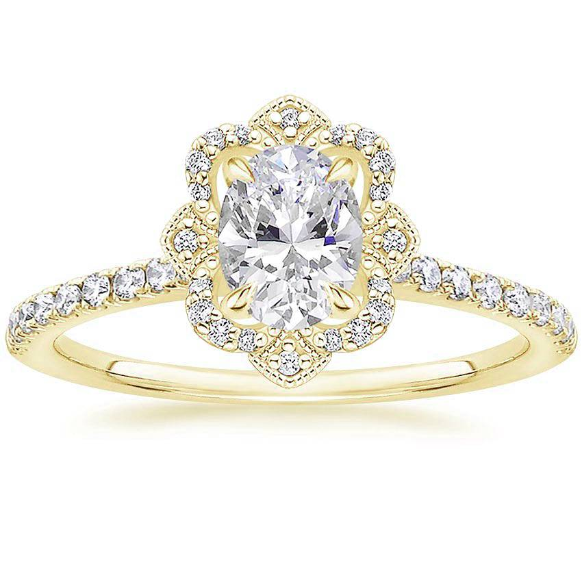Royal Crown Halo Oval Diamond Ring Yellow Gold