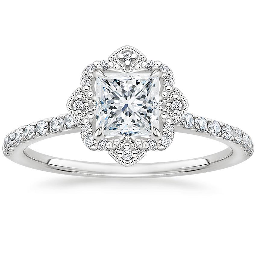 Princess Royal Crown Halo Engagement Ring